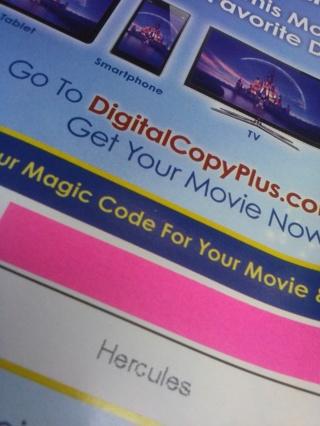 Disney's Hercules Digital Copy Code BONUS Movie Rewards Code with GIN