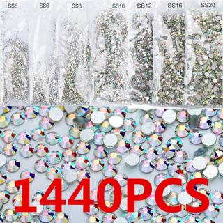 1440pcs  3D Flat Back Nail Art Rhinestones Diamond Gems Tips  Glitter Decoration