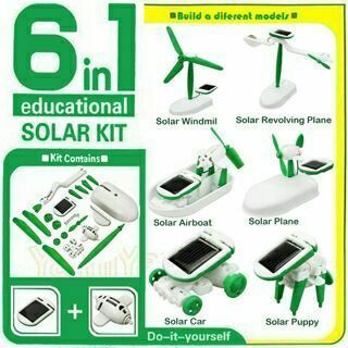 6 IN 1 Educational Learning Power Solar Robot Kit Children Kids Toy