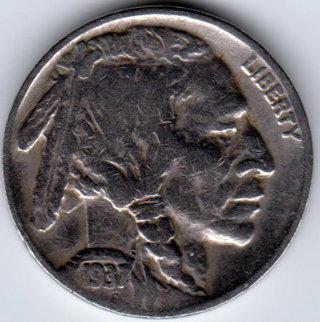 1937 Buffalo Indian Head Nickel Better Grade U.S. Five Cent Coin