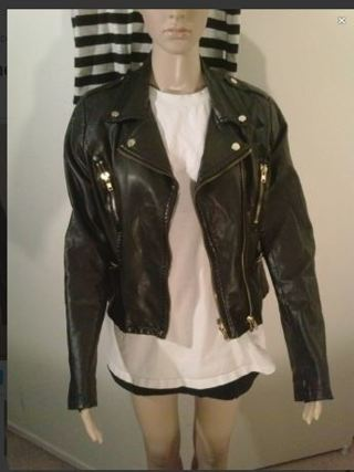 1 FOREVER 21 Leather Jacket Coat Black Biker Jacket