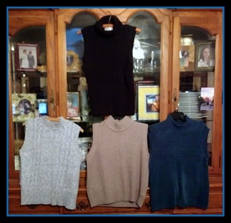 4 Used Size Large Women's Winter Sleeveless Turtleneck Shirts - Be Sure To View ALL Pictures