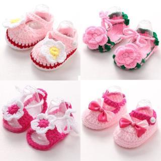 Newborn Girls Handmade Crib Crochet Knit Casual Shoes Baby Infant Sock Soft Sole
