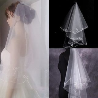 New White Ivory 1-Layer Elbow Length Flower Lacy Edge Wedding Bridal Veil