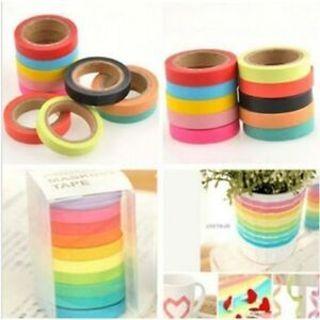 Set Paper Hot Sale Washi Sticky Color Rainbow Adhesive Scrapbook Tape Sticker
