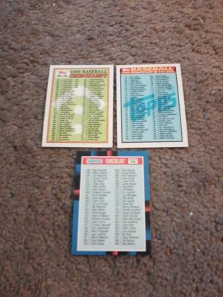(3) Baseball Checklist Unused...1988,1989,1990.