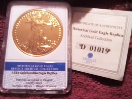 American Mint 24k Gold Layered Replica Of Double Eagle 1933 In Schull Cork From Attic