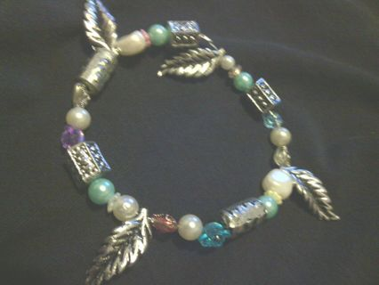 Beautiful Silver Leaf Pearl Bracelet One Of A Kind