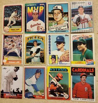 Collection of 12 vintage Baseball Star Cards Stan Musial Nolan Ryan Cal Ripken MVP Clay Kirby #6