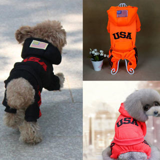 Cute Pet Dog Puppy Cat Jumpsuit Clothes USA Letter Print Soft Hoodie Coat Jacket