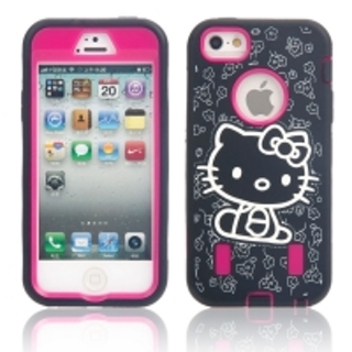 3-in-1 Hello Kitty Pattern Full Protective Case for iPhone 5/5S Black + Rose