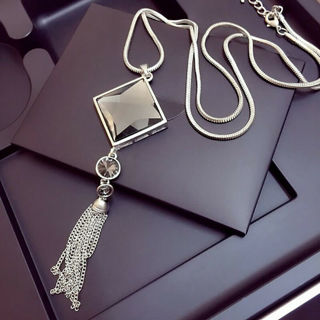 Silver Rhinestone Long Sweater Necklace Square Crystal Tassel Pendant