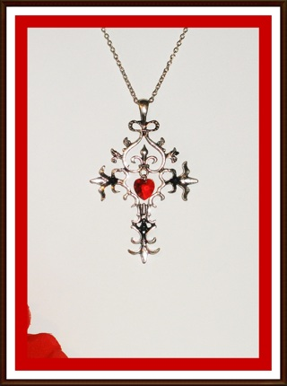 ♡(️❤️)♡ Vampire Diaries Ornate Cross with Red Crystal Heart ~ NEW!! ♡(️❤️)♡
