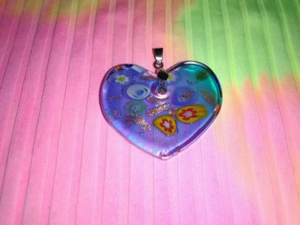 Blue Glass Heart Shaped Pendant