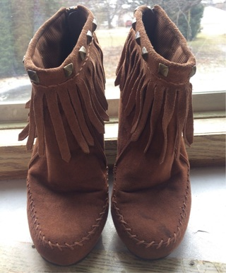 Women's low calf faux suede fringe zipper bling jewels tassel moccasin dress boots brown