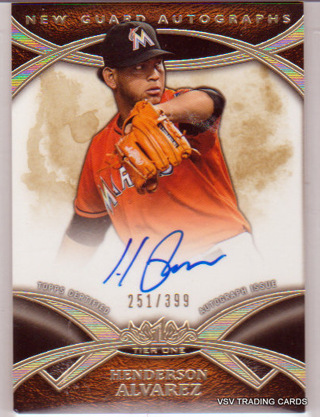 HENDERSON ALVAREZ,  2014 Topps Tier One New Guard Autographs Card #NGA-HAL,  Miami Marlins  /399 IDd