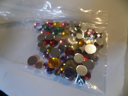 Snack bag 1/2 full asst color flat back jewels & asst. sizes