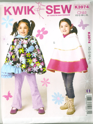 Free Kwik Sew K3974 Girls Hooded Poncho Sewing Pattern Sewing