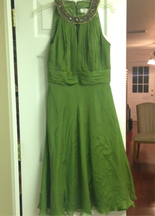 Gorgeous Badgely Mischka Green Silk Cocktail/Party Dress, Size 8
