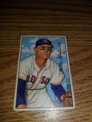 1952 Bowman Baseball Walt Masterson #205 Boston Red Sox,VG condition,Free Shipping!