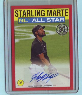 2021 Topps Starling Marte All Star Red Parallel Autograph 5/10 Marlins Baseball Card # 86AS-SM