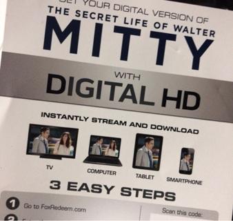 The Secret Life of Walter Mitty UV digital copy