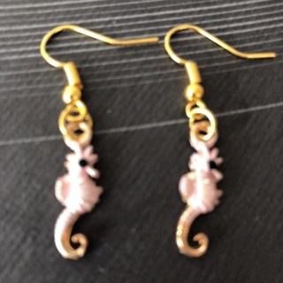 Pink Seahorse Earrings .