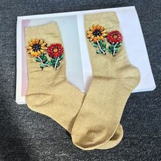 And Autumn Handmade Gemstone Women Sunflower Cotton Sequins Glitter Socks