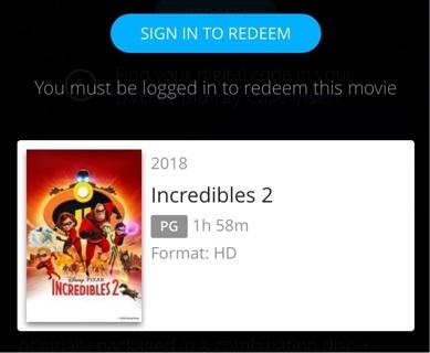Incredibles 2 HD digital code