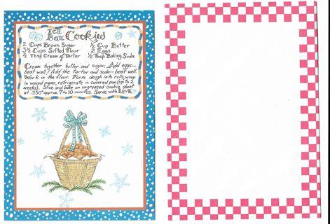 Christmas Card Unused With Envelope Cookie Recipe