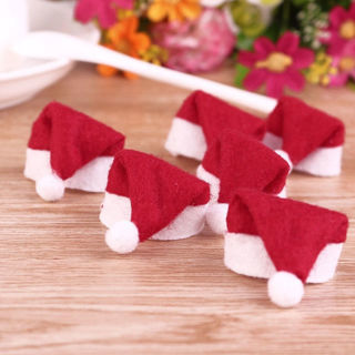 [GIN FOR FREE SHIPPING] 15PCS Mini Lollipop Santa Claus Hats Cap Wrap Christmas Decor
