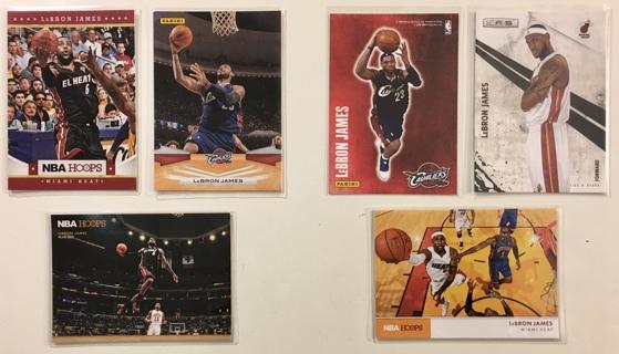 2009-2012 Panini / NBA Hoops LeBron James Cavaliers / Miami Heat Basketball Cards Lot of 6