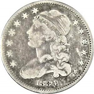 1834 Cap Bust 25 cent 90% pure silver. Solid Silver Coin a Jewelry Bullion Round