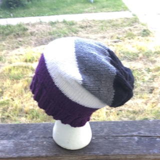 Asexual inspired hand knitted slouchy hat