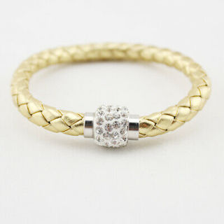 NEW LEATHER GOLD TONE BRACELET CUFF WITH RHINESTONE MAGNETIC CLOSURE