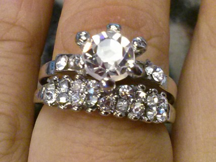 LAST ONE 2 Carat Wedding Ring / Engagement Set For Halloween, Prank or Daily Wear Size 8 1/2 8.5