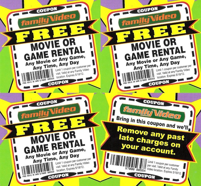 Today's top Family Video coupon: See Our new & Coming Soon Items. Get 4 coupons for