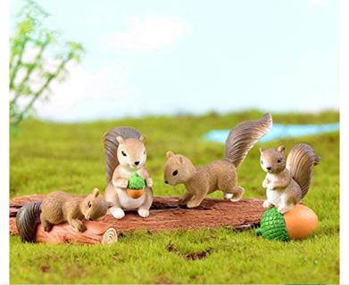 4 Pcs Cute Mini Squirrel Animal Miniature Figurines Fairy Garden Terrarium