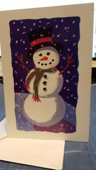CUTE SNOWMAN OUT ENJOYING THE SNOWFALL CARD W/ ENVELOPE