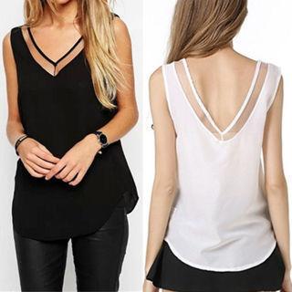 Casual Women V-Neck Vest Summer Loose Chiffon Sleeveless Tank T-Shirt Top Blouse