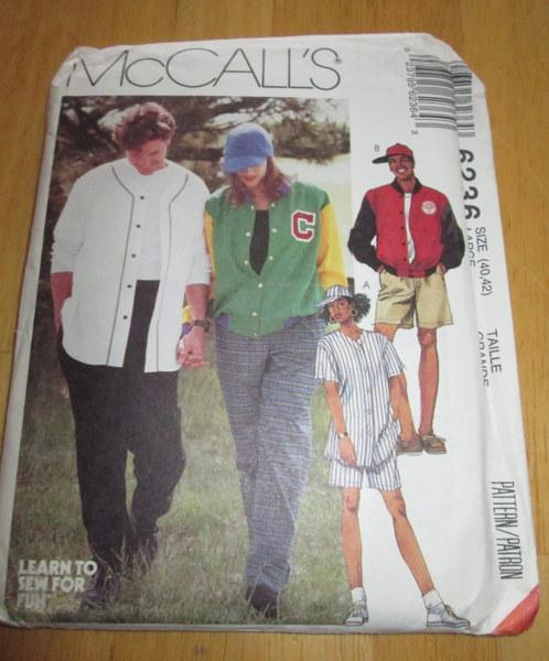 Free: McCalls 6236 SEWING Pattern~new~Mens Sports Jersey, Ball Cap ...