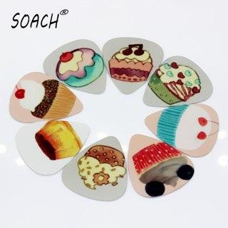 SOACH 10PCS 1.0mm high quality guitar picks two side Cake picks earrings DIY Mix picks guitar