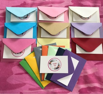 16 Color Mini Evelopes w/ Thank You Card