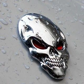 [GIN FOR FREE SHIPPING] 3D Skull Logo Emblem Badge Metal Car