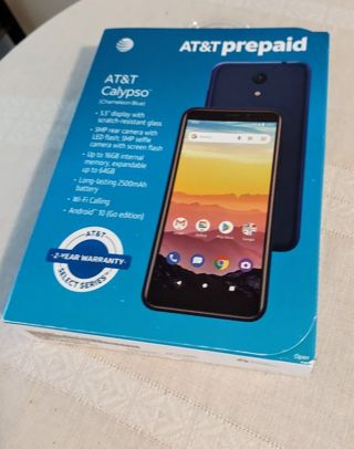 """New AT&T prepaid Calypso """"champagne blue"""" Phone"""