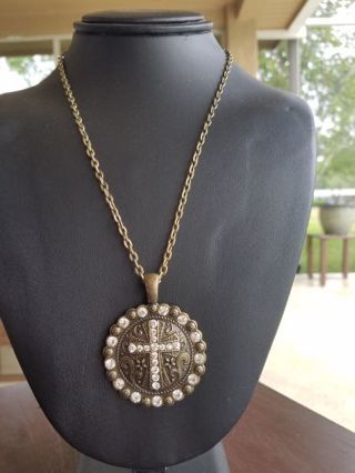 Bronze tone rhinestone cross necklace, hand made by me.