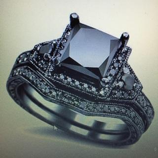 Gothic Black Wedding Engagement Ring Princess Cut Size 5