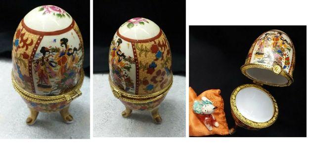 Oriental Porcelain Egg Shape Trinket Box Ceramic w/ Baby Pillow Asian Decor