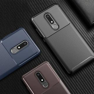 Luxury Carbon Fiber Phone Case on for Nokia 5.1 3.1 2.1 Shockproof Soft Silicone TPU Cover for Nok