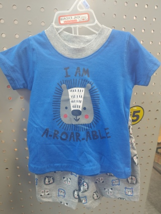 "NWT! Quaker Jack Baby Boys 2pc set ""I AM A-ROAR-ABLE"" Size: 0-3mths 100% Cotton"